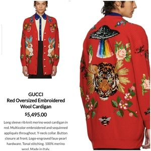 Authentic Gucci Oversized Embroidered Wool Cardi